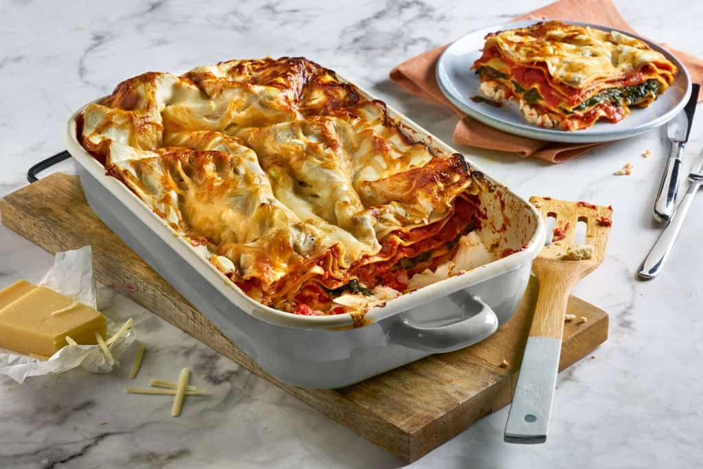 Vegetarische Lasagne mit Spinat