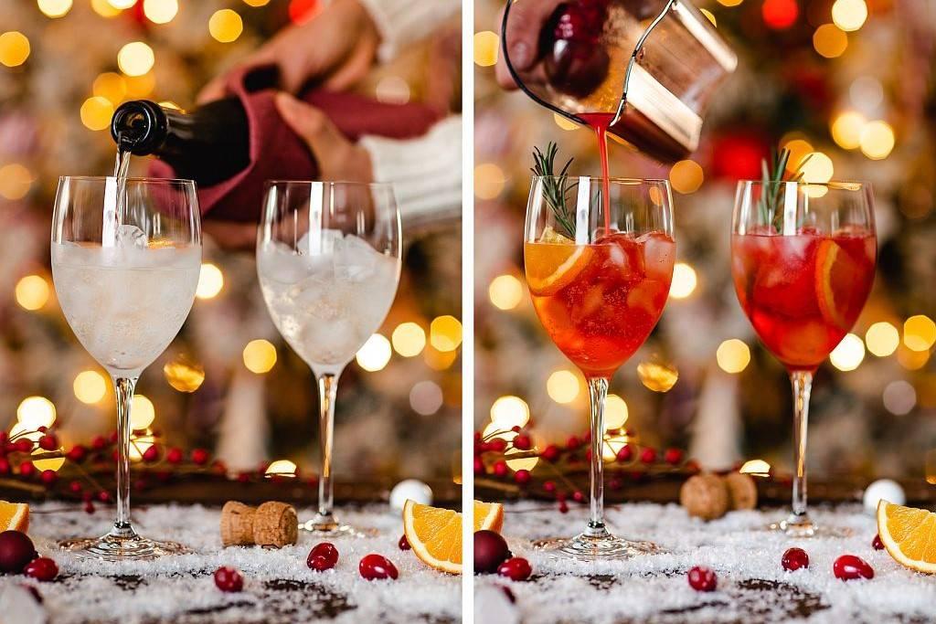 Christmas Spritz. Prosecco und Saft dazugießen.