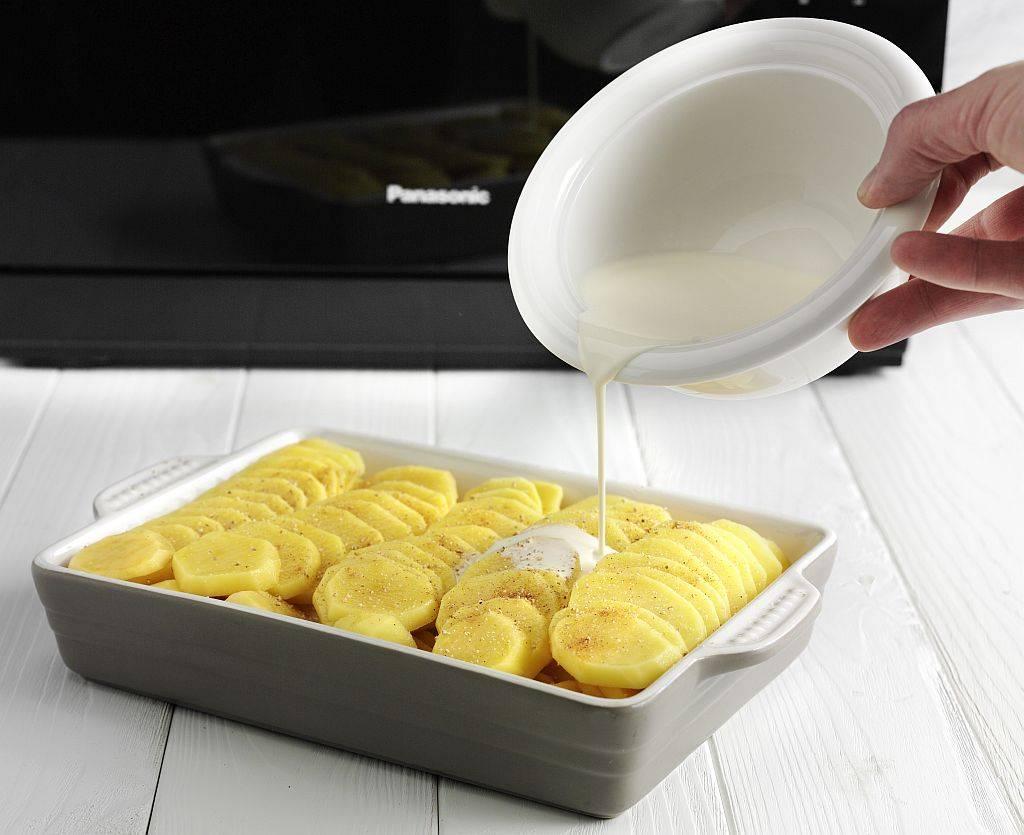 Feines Kartoffelgratin mit Crème double für den richtigen Schmelz.